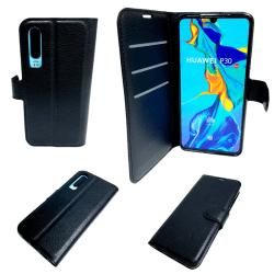 2-i-1 Plånbok Svart Läderfodral till Huawei P30