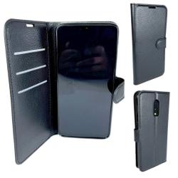 2-i-1 Plånbok Svart Läderfodral till OnePlus 6T
