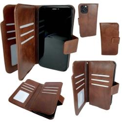 Dubbel Plånbok Brun Läderfodral till iPhone 11 Pro