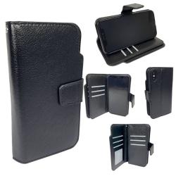Dubbel Plånbok Svart Läderfodral till iPhone XS