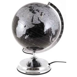 Jordglob med belysning h38cm Jordglobslampa svart silver lampa Svart