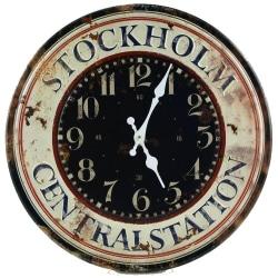 Klocka ur vägg Stockholm metall relief väggklocka 40cm Beige