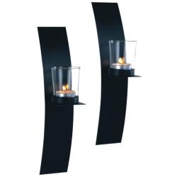 Lampett vägglykta båge smide 2-p lykta ljuslykta väggljusstake Svart