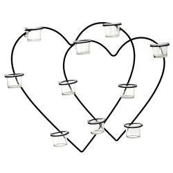 Vägglykta dubbla hjärtan med glaskoppar ljuslykta Black