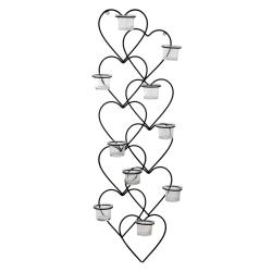 Vägglykta Hjärtan med 10 st glaskoppar ljuslykta 83 cm Black