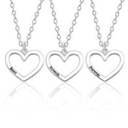3 st / förp silverfärgade halsband Best Friends Forever silver