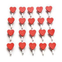 40 st/förp små klädnypor med hjärta 25 mm