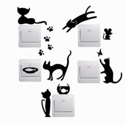 5 st. katter strömbrytare vinyl vägg klistermärken svart
