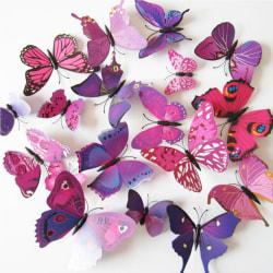 Fjäril väggdekorationer 3D  med magneter 12 st / förp Lila lila