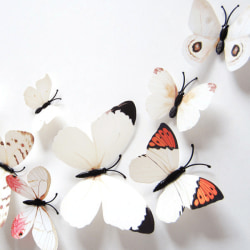 Fjäril väggdekorationer 3D  med magneter 12 st / förp Vit vit