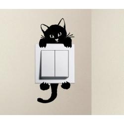 Liten katt strömbrytare vinyl vägg klistermärken svart