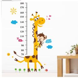 Mätsticka Giraff Barn Höjd Vägg Klistermärken 180 cm