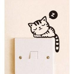 Sovande katt strömbrytare vinyl vägg klistermärken svart