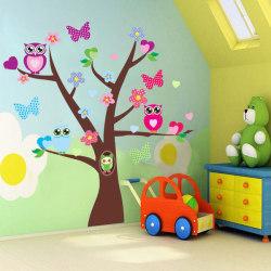Stort träd med ugglor vinyl vägg klistermärken  flerfärgad