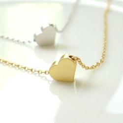 Fotlänk hjärta guld/silver silver