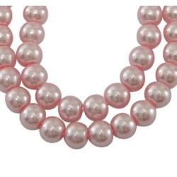 1 sträng 140 st Light Pink vaxade glaspärlor 6mm Pärlimitation