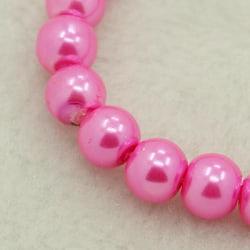 1 sträng 215 st Hot Pink vaxade glaspärlor 4mm Pärlimitation