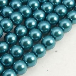 1 sträng 215 st Teal vaxade glaspärlor 4mm Pärlimitation