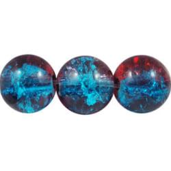1 sträng , ca 106 st Blå/röd Krackelerade Glaspärlor 8 mm Runda