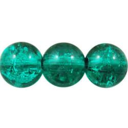 1 sträng , ca 106 st Emerald Krackelerade Glaspärlor 8 mm Runda