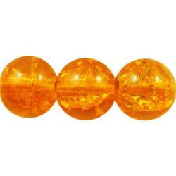 1 sträng , ca 140 st Orange Krackelerade Glaspärlor 6 mm Runda