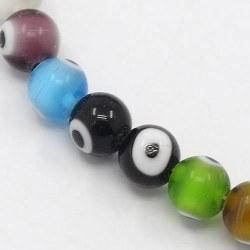 1 sträng ca 40 st Lampwork Evil Eye pärlor 10mm