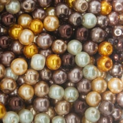 100 st Vaxade Glaspärlor 8mm Brun Mix