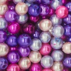 100 st Vaxade Glaspärlor 8mm Lila/Rosa Mix