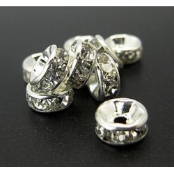 20 st Mellandelar Metallpärlor Rhinestones 6mm Silver