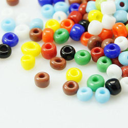 75 gram ca 800 st Opaque Mix Glaspärlor 3x3.6 mm  Seed Beads