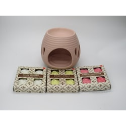 Paket med Aromalampa och 12 handgjorda miljövänliga doftvax Pink Rosa