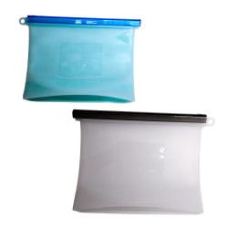 Återanvändbara lufttäta silikonpåsar 2 st (1 l + 1,5 l) Ljusblå