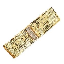 Brett elastiskt bälte med paljetter i guld, silver, svart eller  Guld
