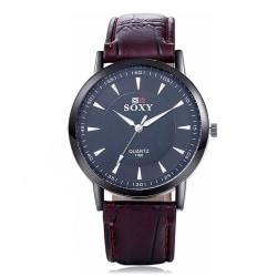 Elegant klocka i svart med rödbrunt armband Brun