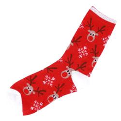 Julstrumpor i bomull - Blandade motiv Röd
