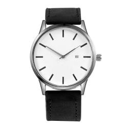 Klocka i vitt med matt svart armband Svart