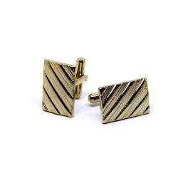 Manschettknappar Rectangle Striped - Guld / Silver Guld
