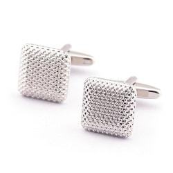 Manschettknappar - Rundade kvadrater i silver med struktur