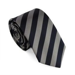 Smal / slimmad slips - bredrandig i silver och mörkblått Blå