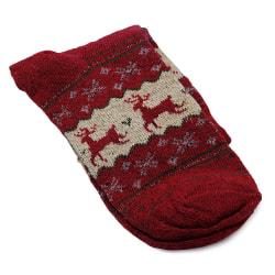 Strumpor i ull med julmotiv / renar - Olika färger Beige