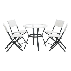 4Living Trädgårdsmöbelset - Caféset med 4 stolar - Lisa Vit