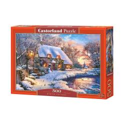 Castorland Pussel - En vinterkväll vid stugan, 500 Bitar multifärg