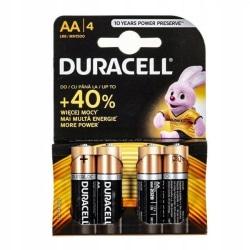 Duracell Alkaliska AA-Batterier 4-pack Svart