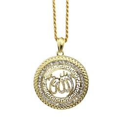 18 karat guldpläterad kedja Allah muslim berlock islam Guld one size