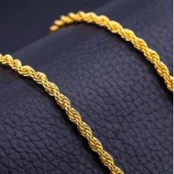 18K guldpläterad snurrad lyxig kedja  Gold S