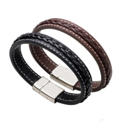 Armband i läder och metallspänne till män Svart one size