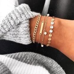 Armband i set á 4 stk guld bohemiskt smycke pärlor Guld one size