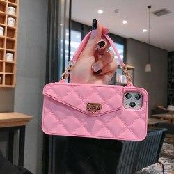 Exklusiv handväska för iPhone 11 Pro med axelrem  Rosa one size