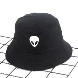 Fiskehatt Hip-Hop svart broderad främmande hatt sol Svart one size
