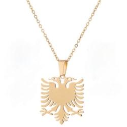 Halsband med shenja e flamurit albansk örn guldpläterat  Guld one size